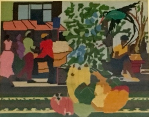 Jamaican market scene sketched by her brother, Lloyd Walcott.